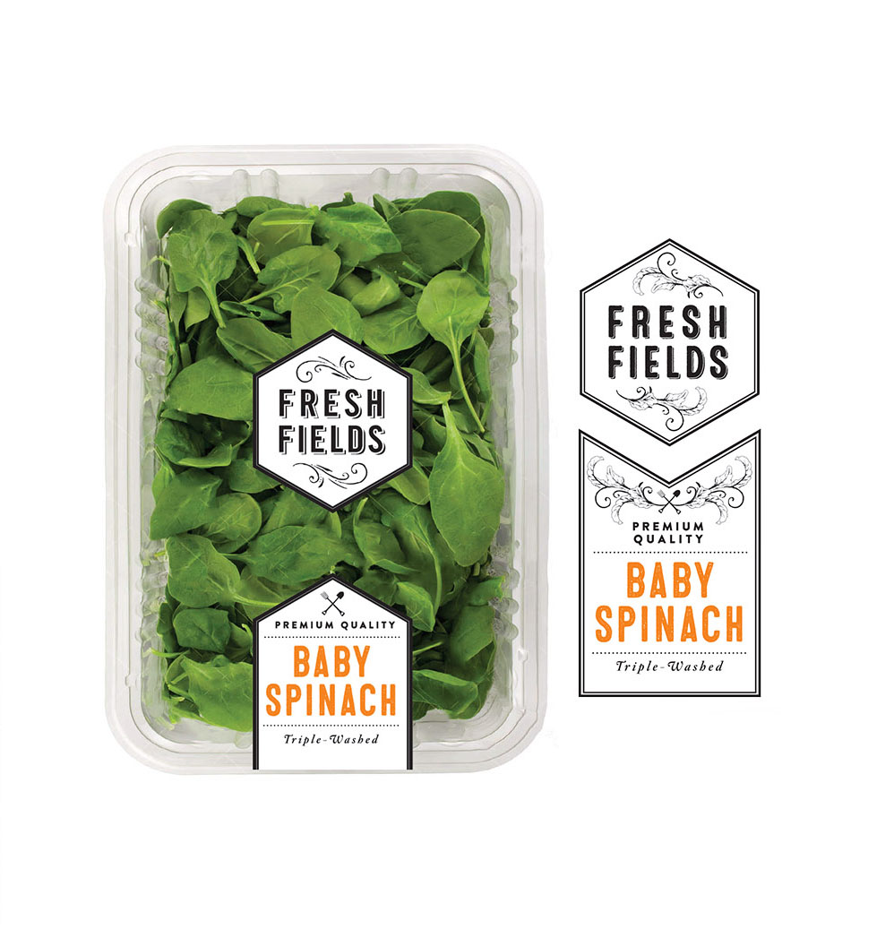 Whole Foods Fresh Fields Baby Spinach Packaging Design
